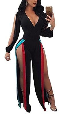 Antique Style Women's Sexy Deep V-Neck Slit Sleeve High Split Wide Leg Pant Romper Jumpsuit Party Club Bandage Dress