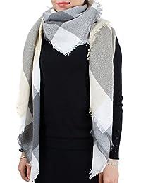 Wenseny Womens Scarves Wrap Shawl Multicolored Fashion Large Tartan Square Scarf Grey Beige