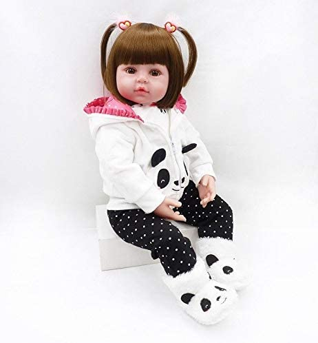 NKol Reborn Baby Dolls 18Inch Lifelike Realistic Newborn Weighted Baby Doll Girl with Panda Outfit