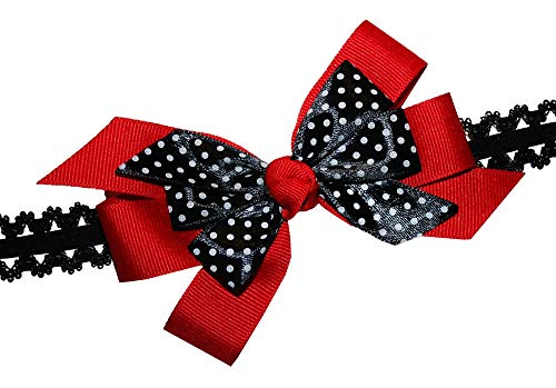 WD2U Baby Girls Dotted Red Black LadyBug GrosGrain Hair Bow Stretch Headband USA