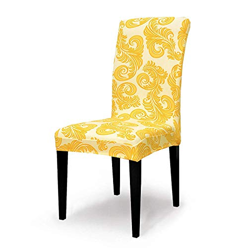 Cotton Room Dining Chair (TIKAMI Stretch Dining Room Chair Slipcovers Seat Covers Washable Spandex Chair Furniture Protector (4pcs, Gold Flower))