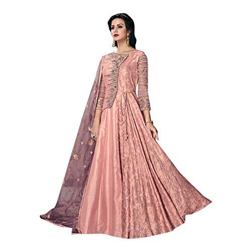 Sequin Salwar Suit - Peach Muslim Sequins Tussar Silk Long Anarkali Salwar Kameez Indian Eid Festival Dress Suit Semi Stitched 8056