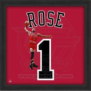 Biggsports Derrick Rose Chicago Bulls 20x20 Framed Uniframe Jersey Photo by Biggsports