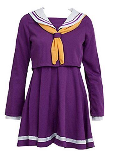 [FUji NO GAME NO LIFE Shiro Sailor Suit Cosplay Costume (M)] (Fake Breasts For Halloween Costume)