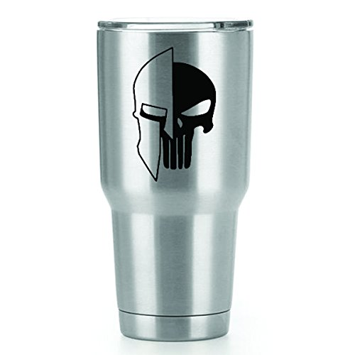 Vigilante Helmet (Punisher Spartan Helmet Vinyl Decals Stickers ( 2 Pack!!! )   Yeti Tumbler Cup Ozark Trail RTIC Orca   Decals Only! Cup not Included!   2 - 3 X 2 inch Black Decals   KCD1073)