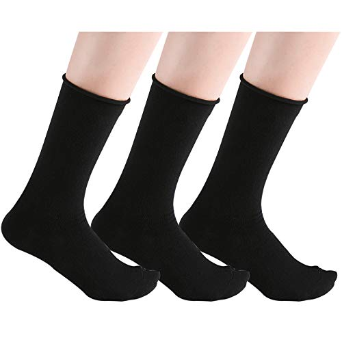 Women's Black Roll Cuff Soft Combed Cotton Casual Crew Socks, Us Size 4-7