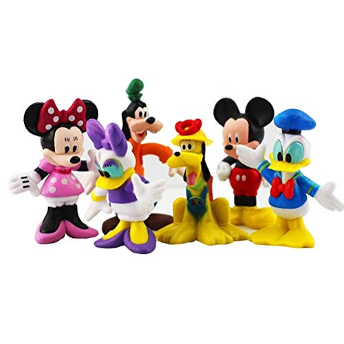 LVCL Ltd 6pcs/lot Mickey Figures Toy Doll Minnie Figure Mouse Donald Duck Cartoon Children's Toy Goofy Dog Pluto Dog Daisy Baby Doll -