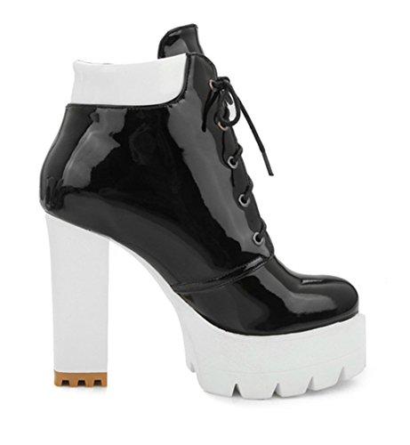 YE Damen Lackleder High Heel Plateau Ankle Boots mit