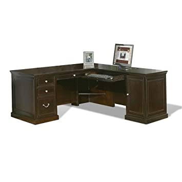 Martin Furniture Kathy Ireland Fulton Collection Espresso Compact L Desk  With Right Return