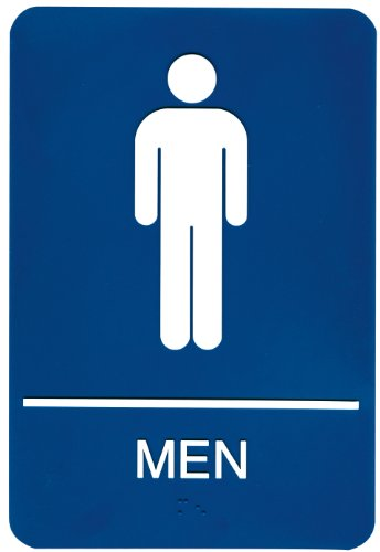 Headline Sign 5209 ADA Men's Restroom Sign with Tactile Graphic, 6 Inches by 9 Inches, Blue/White