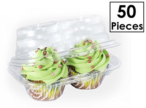 Katgely 2 Compartment Cupcake Container - Deep Cupcake Carrier Holder Box - BPA-Free - Clear Plastic Stackable - Pack of 50 (Turn Caddy Cake)