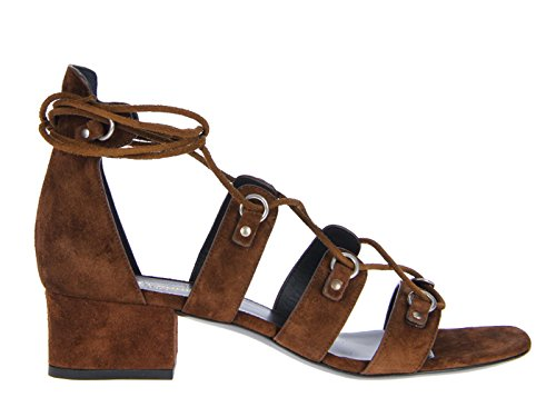 Saint Laurent Damen 427820CLT002532 Braun Wildleder Sandalen
