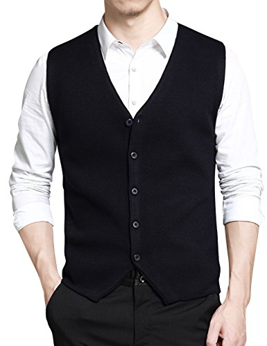 Gameyly Men's Slim-Fit Solid Knit Sweater Vest Sleeveless Tank M Navy (Button Up Sweater Vest)