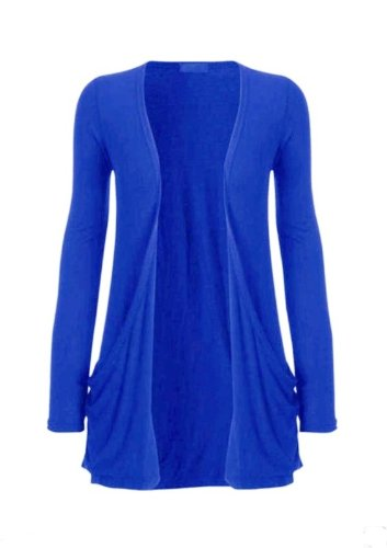 Hot Hanger Ladies Plus Size Pocket Long Sleeve Cardigan 16-26 : Color – Electric Blue : Size – 16-18 LXL