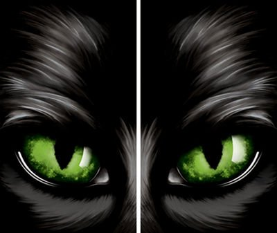 "WOWindow Posters Green Eyed Glowing Eyes Halloween Window Decoration Two 34.5""x60"