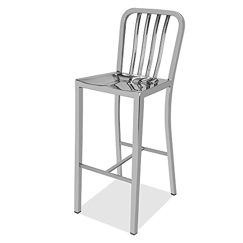 CHAIR DEPOTS Kupa Stainless Steel Bar Stool, Hand Polished F