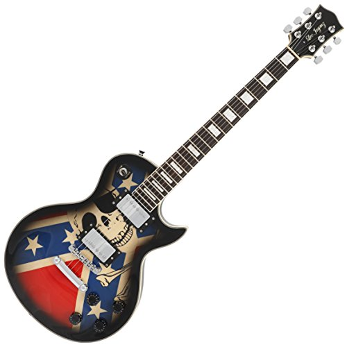 Single cut Custom Electric guitar with flag sticker design (Skull Sticker)