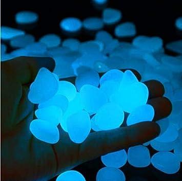 StillCool Piedras Luminosas Azul 100 Pcs, Artificiales Piedras Fluorescentes Decorativas, para Las Calzadas Decoración al Aire Libre Tanque de Peces de Acuario Camino Lawn Yard