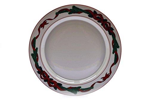 (Dansk Holiday Jul Tidings White Red Ribbon Green Pine Branches Dinner Plate)