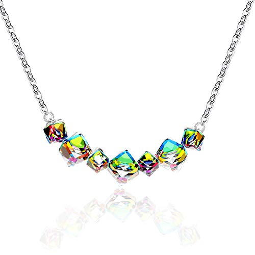 Uloveido Women's Square Cube Mystic Topaz Rainbow Magic Crysal Color Changing Necklace Platinum Plated with Gift Box GR128 (Platinum Square Necklace)