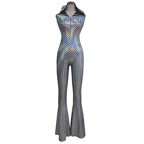 Pinda Rave Iridescent Holographic Mermaid Scale Hooded Bell Bottom Flares Jumpsuit Bodysuit Catsuit (S, - Coachella Romper