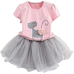 GBSELL 2PC Summer Toddler Baby Kids Girl Cartoon Cat Shirt + Tutu Dress Set (Pink, 6T)