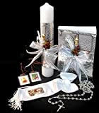 Spanish Handmade First Holy Communion Set for Boy Holy Cross Boy - Candle, Bible, Illustrated Armband, Laminated Scapular, and Rosary –Religious Gift