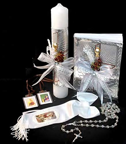 Spanish Handmade First Holy Communion Set for Boy Holy Cross Boy - Candle, Bible, Illustrated Armband, Laminated Scapular, and Rosary -Religious Gift (Boy First Communion Cross)