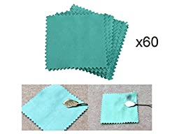 60 PCS LOT Pack Jewelry Cleaning Cloth Polishing Cloth for Sterling Silver Gold Platinum 3.15 BY 3.15 INCH SIZE