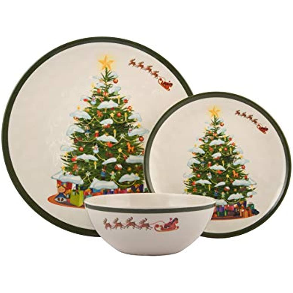 Melamine Christmas Platters.Details About 18 Piece Melamine Dinnerware Set Christmas Tree Shatter Proof And Plates Bowls