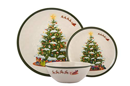 Melange 18-Piece Melamine Dinnerware Set (Christmas Tree) | Shatter-Proof and Chip-Resistant Melamine Plates and Bowls | | Dinner Plate, Salad Plate & Soup Bowl (6 Each) ()