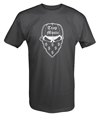Gangster Trap Skull Bandana Money Music Hat Dark EyesTshirt - Large
