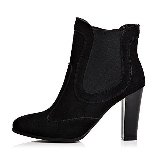 Amoonyfashion Dames Ronde Neus Gesloten Neus Hoge Hakken Laarzen Met Zwarte Draad
