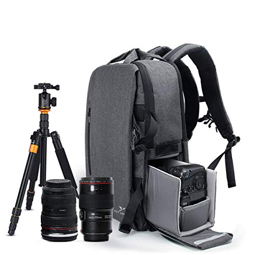 Multi-function Outdoor SLR Camera Backpack, Men's And Women's Waterproof Anti-theft Camera Bag Suitable For Sony Canon Nikon Olympus Tripod And Lens -33 16 47cm Grey (Best Mirrorless Camera Under 500 Uk)