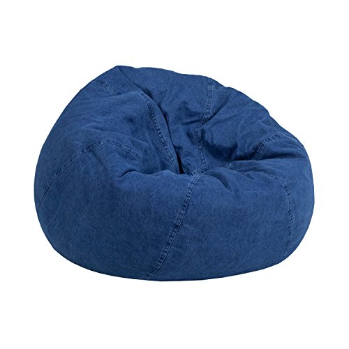 Flash Furniture Small Denim Kids Bean Bag Chair Blue Denim Bean Bag