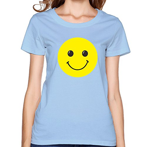 GGifKCU Smiling Face T Shirts For Woman XXL SkyBlue by GGifKCU
