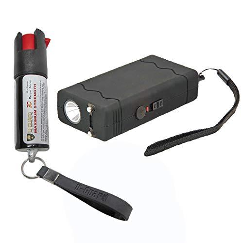 (Self Defense Items Kit Compact Pocket Stun Gun OC Pepper Spray Combo Includes Rechargeable Mini Taser Flashlight Stun Gun & Pepper Spray Keychain Self Defence Weapons For Women Or Men (BLACK))