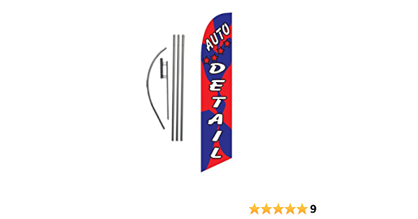 Amazon Com Auto Detail Car Wash Feather Banner Swooper Flag Sign With Flag Pole Kit And Ground Stake Other Products Office Products