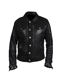 Men's Casual Trucker Black Nappa Leather Shirt Jean Jacket