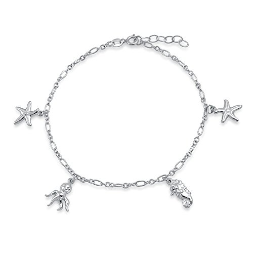 rfish Seahorse Charm Anklet Figaro Chain Ankle Bracelet For Women 925 Sterling Silver Adjustable ()