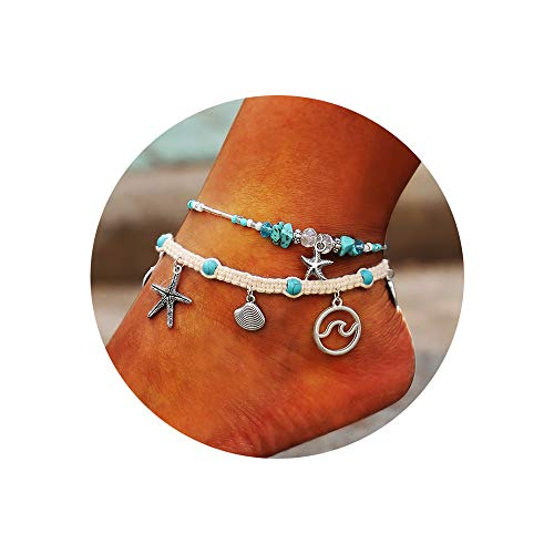 (Krun Turquoise Anklet Multilayer Beads Shell Braided Boho Starfish Handmade Anklet Foot Jewelry for Women(2PCS))