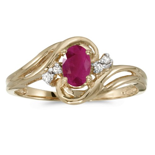 Diamond & Ruby Anniversary Ring - 10k Yellow Gold Oval Ruby And Diamond Ring (Size 7)