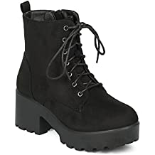 Indulge Women Block Heel Ankle Boot - Lug Sole Bootie - Lace Up Chunky Heel Combat Boot - Dressy Casual Trendy Costume Cosplay Party Bootie - Mode-05