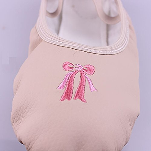 Girls Kids Split Soft Sole PU Ballet Slippers Embroider Ballet Dance Shoes TM Size 25 UltimaFio