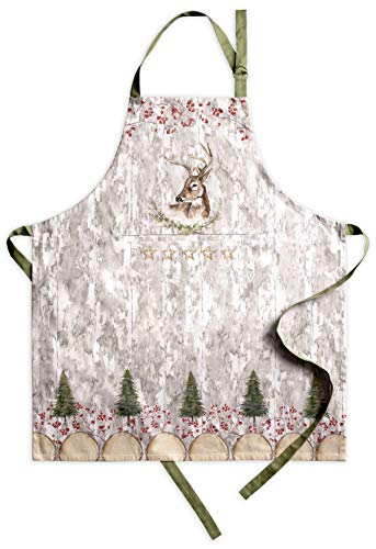 Maison d Hermine Mountain Life 100% Cotton Apron with an Adjustable Neck & Hidden Center Pocket 27.50 Inch by 31.50 Inch.