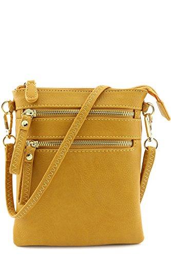 [Multi Zipper Pocket Wristlet Crossbody Bag (Mustard)] (Yellow Purses)