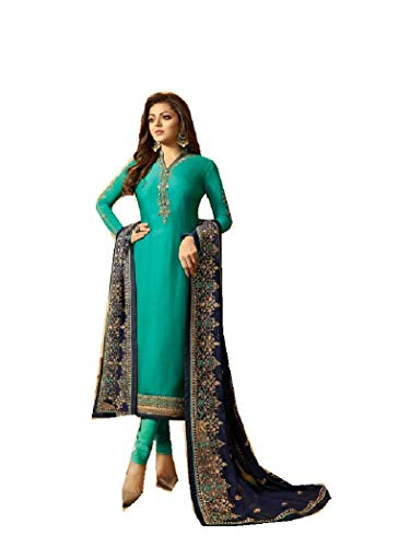 (Delisa Designer Wedding Partywear Silk Embroidered Salwar Kameez Indian Dress Ready to Wear Salwar Suit Pakistani LTN (Sky Blue, X-LARGE-44))