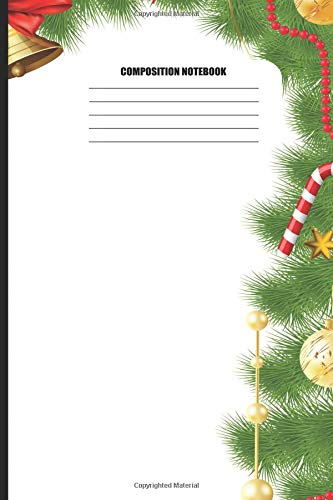 Composition Notebook: Christmas Pattern with Candy Canes & Golden Ornaments (100 Pages, College Ruled)