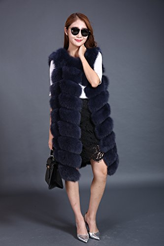 Lovingbeauty Long Navy Blue Vest Women Fox Fur Winter Gilet Outerwear Waistcoats (XXL) by Lovingbeauty (Image #1)
