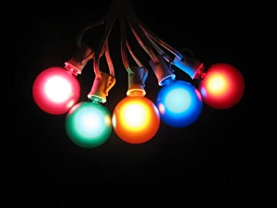 100 Foot Globe Patio String Lights - Set of 100 G50 Assorted Satin Multi-colored Bulbs with White Cord